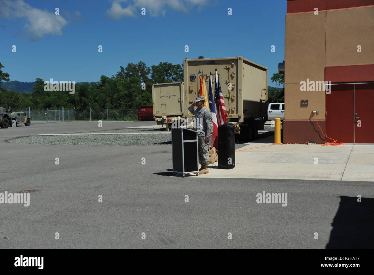 Soldiers, family and friends gathered to bid farewell to approximately 45 U.S. Army Reserve Soldiers from the 246th Quartermaster Company (QM Co.) (Mortuary Affairs) on September 25, at the U.S. Army Reserve Center in Mayaguez, Puerto Rico. - Stock Image