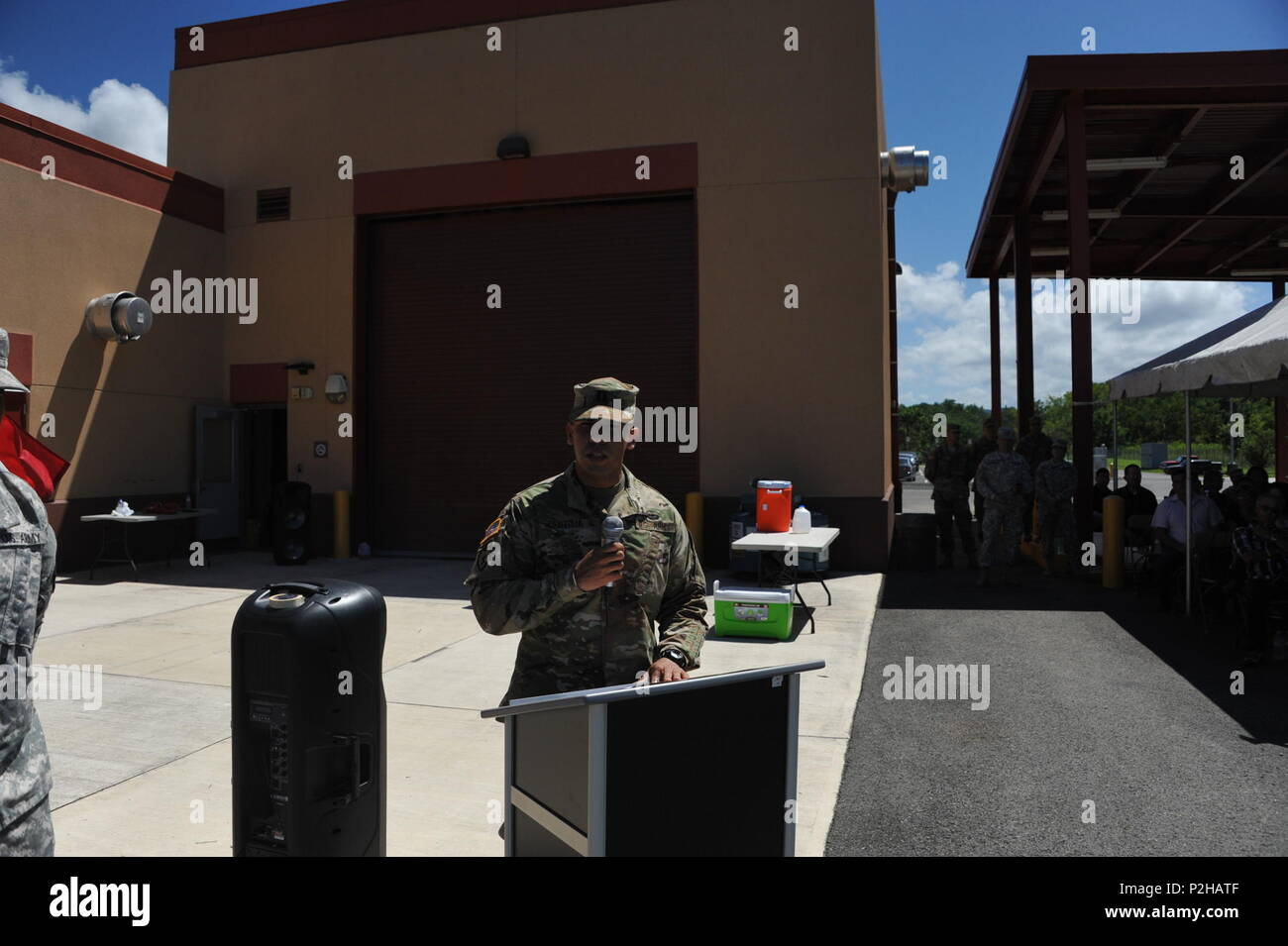 Capt. Armando Pantoja, commander of the 246th Quartermaster Co. (Mortuary Affairs), addresses his Soldiers, friends and family during a farewell ceremony held at the U.S. Army Reserve Center in Mayaguez, PR. - Stock Image