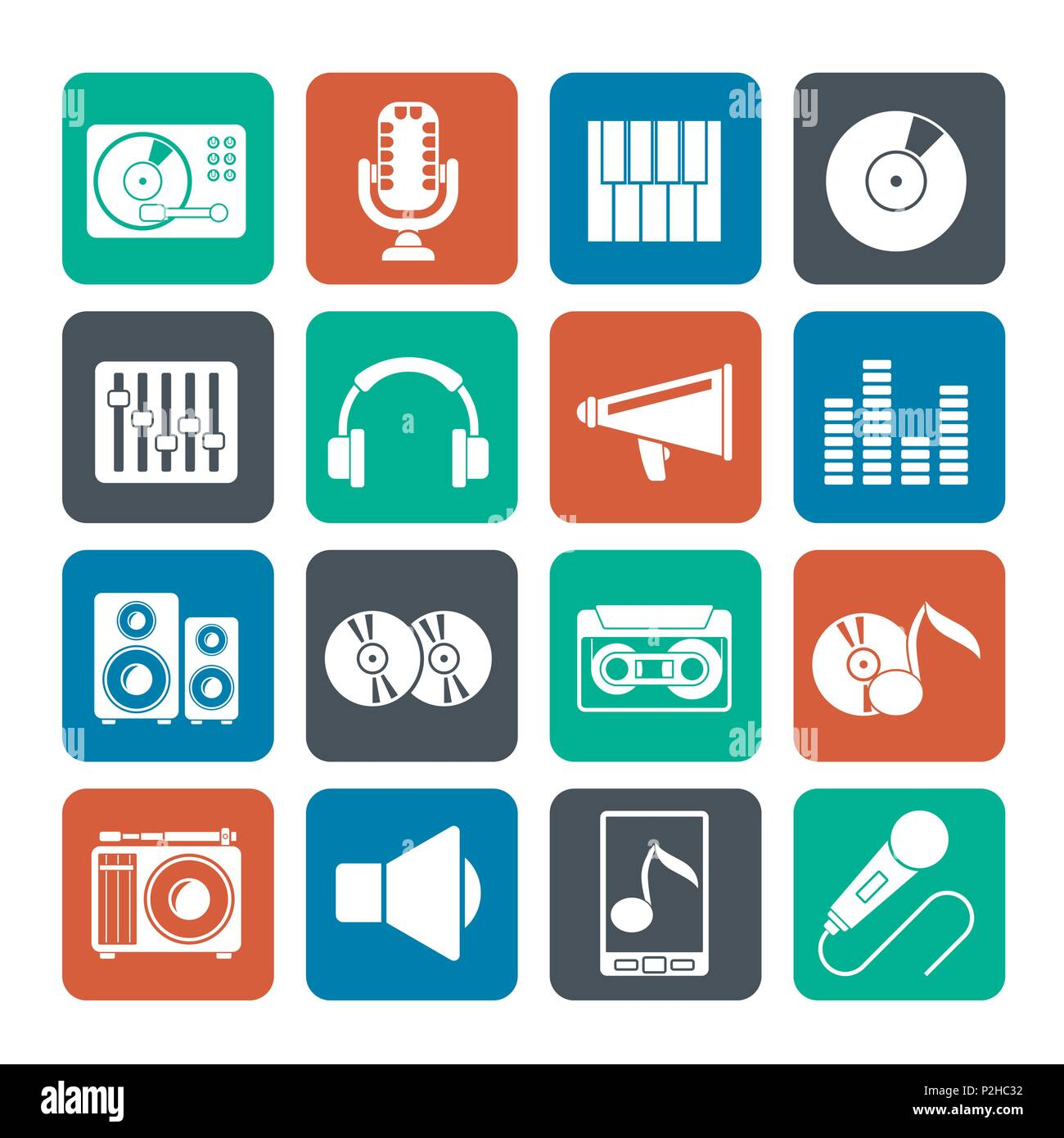 Silhouette Music and audio equipment icons - vector icon set - Stock Image