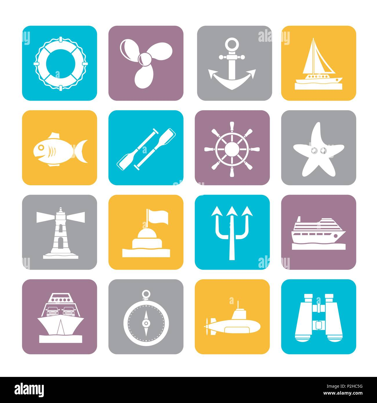 Silhouette Marine and sea icons - vector icon set - Stock Image