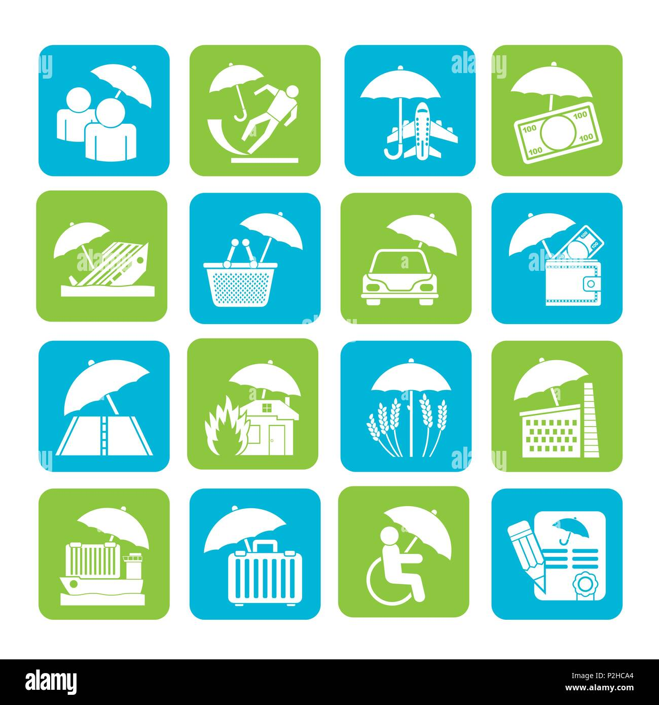 Silhouette Insurance Risk And Business Icons Vector Icon Set