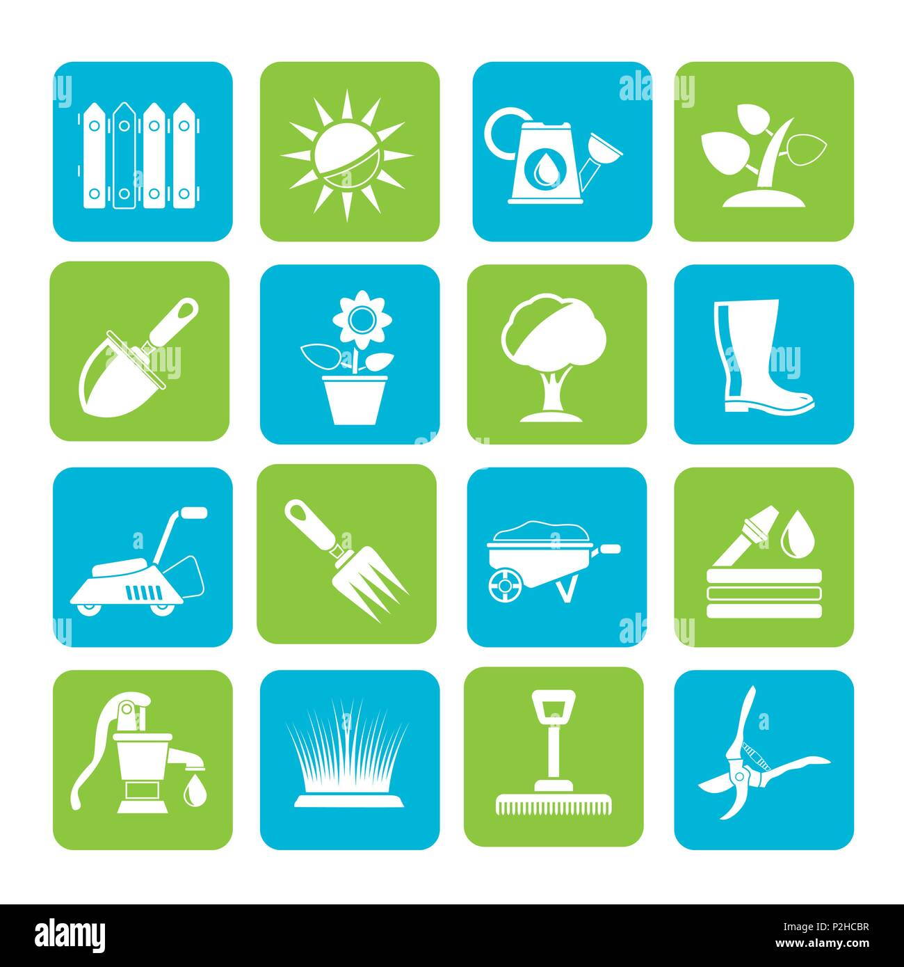 Silhouette Gardening tools and objects icons - vector icon set - Stock Vector