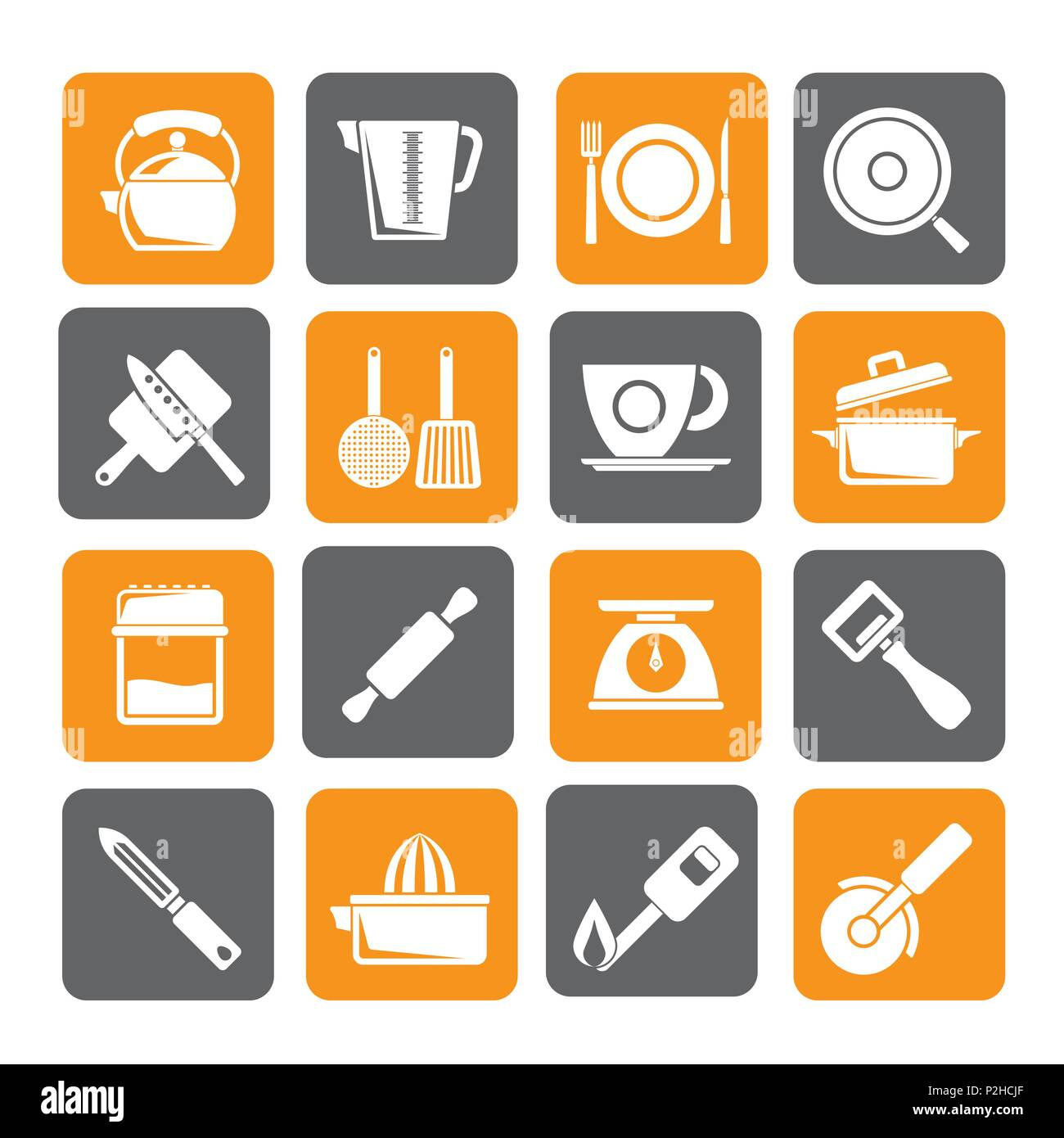 Silhouette kitchen gadgets and equipment icons - vector icon set - Stock Image