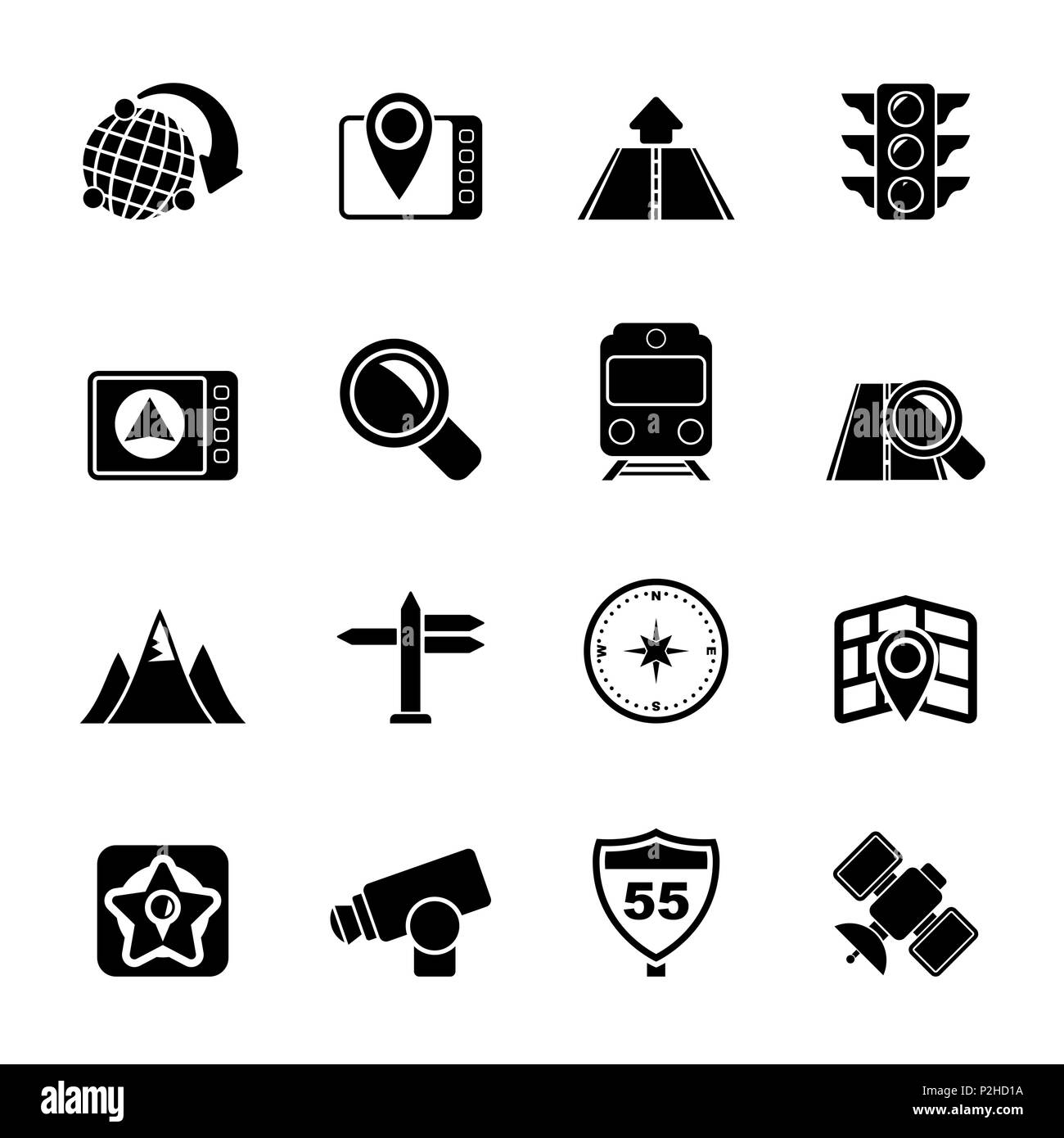 Silhouette Map, navigation and Location Icons -vector icon set - Stock Image