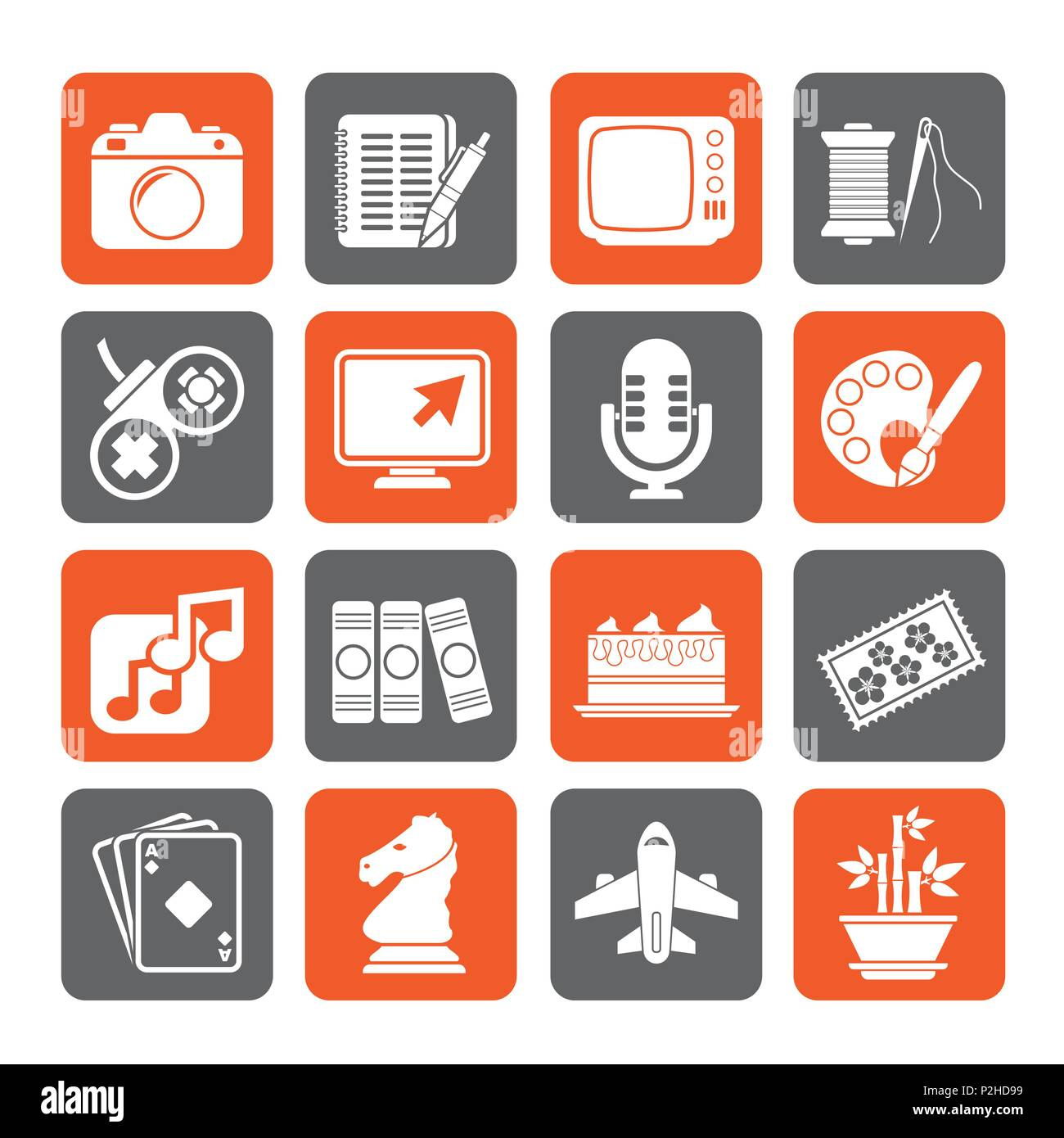 Silhouette Hobbies and leisure Icons - vector icon set - Stock Image