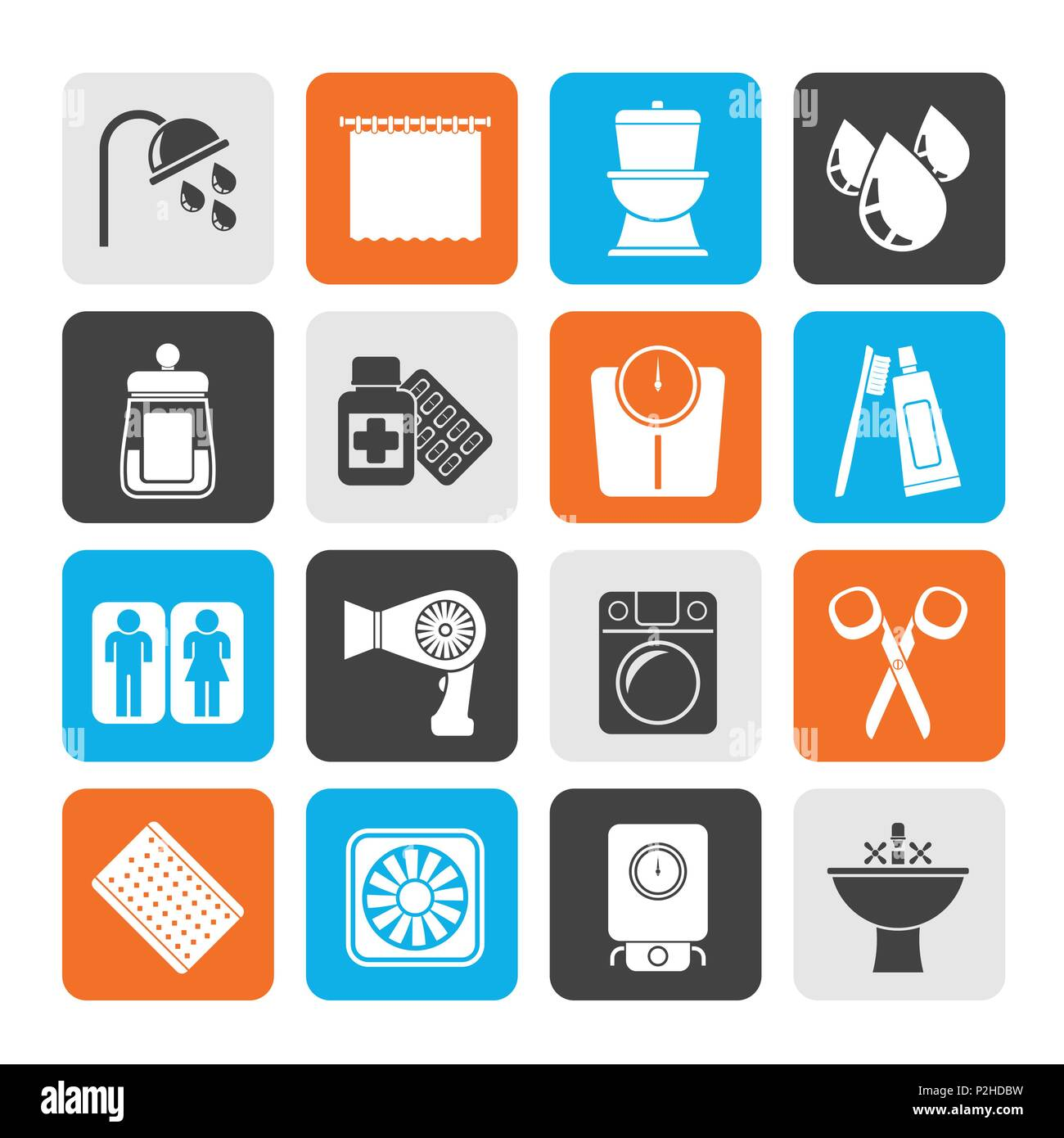 Silhouette Bathroom and Personal Care icons- vector icon set 2 - Stock Image
