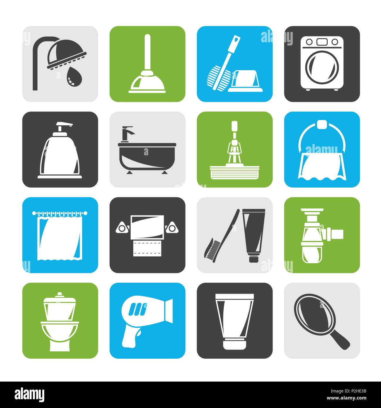 Silhouette Bathroom and hygiene objects icons -vector icon set - Stock Image