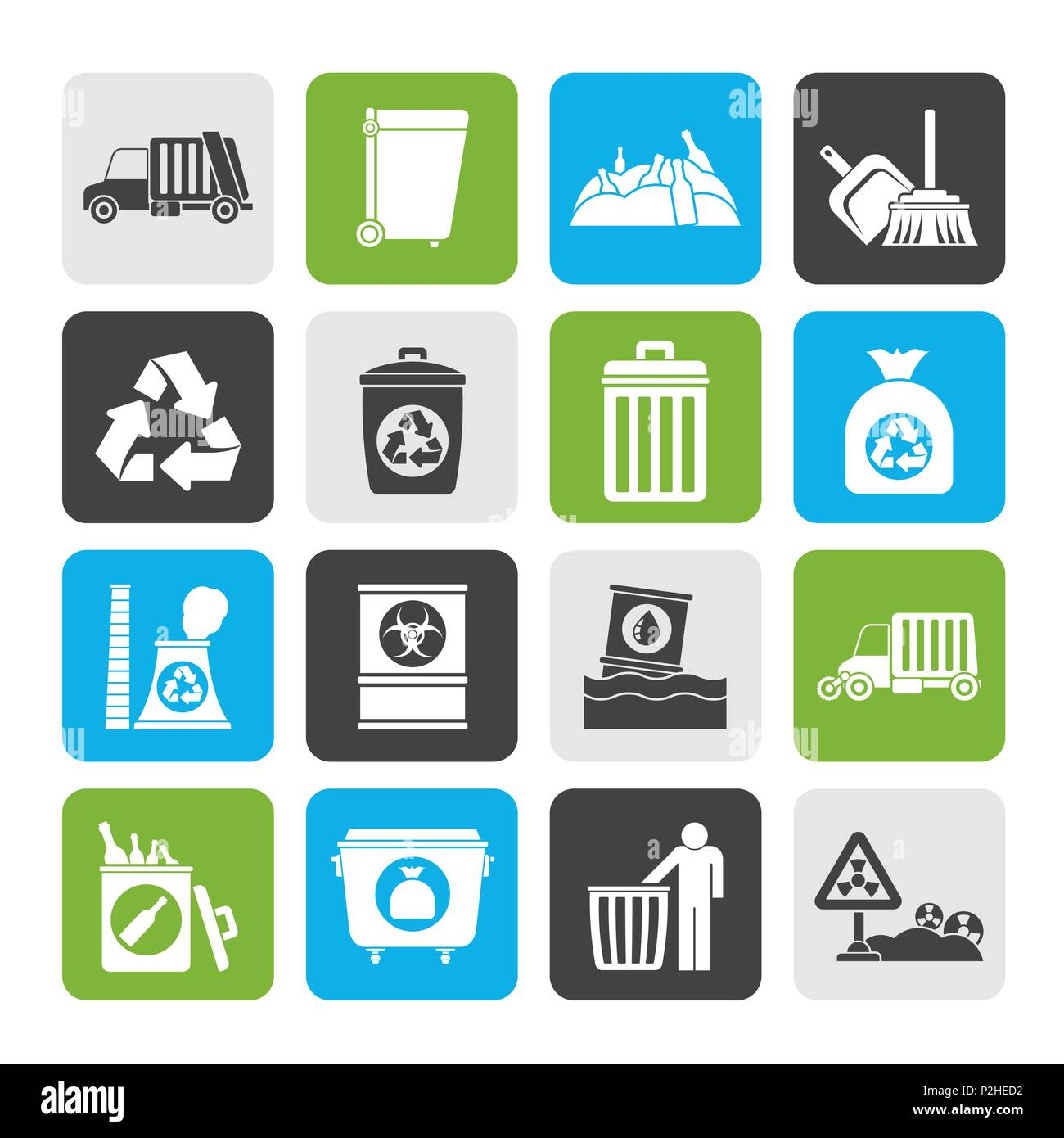Silhouette Garbage, cleaning and rubbish icons - vector icon set - Stock Vector