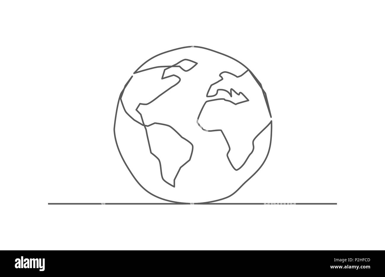 Line drawing world map stock vector images alamy globe one line drawing stock vector gumiabroncs Images