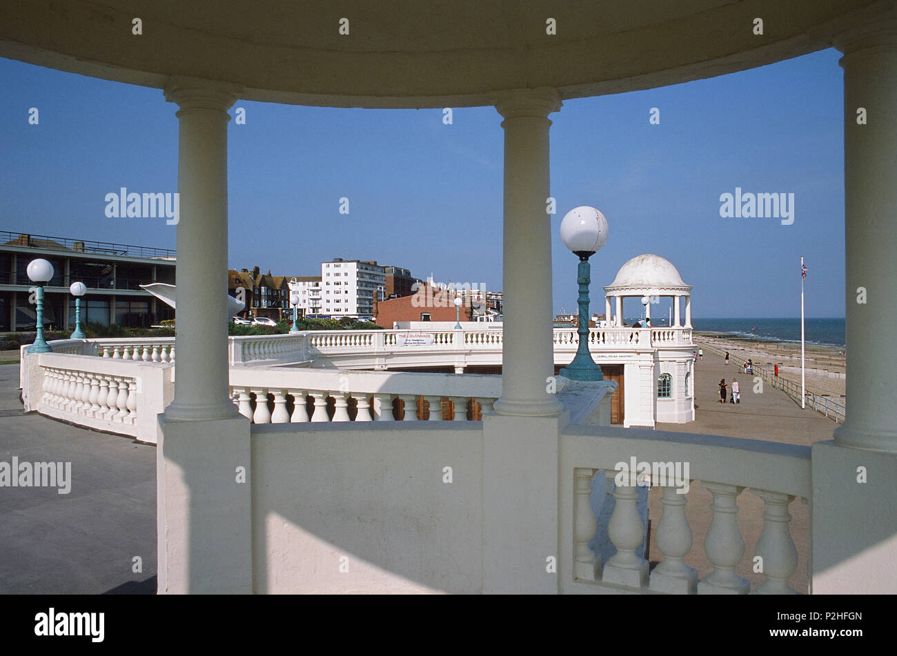 Bexhill seafront in summer, East Sussex UK, viewed from a cupola at the De la Warr Pavillion - Stock Image