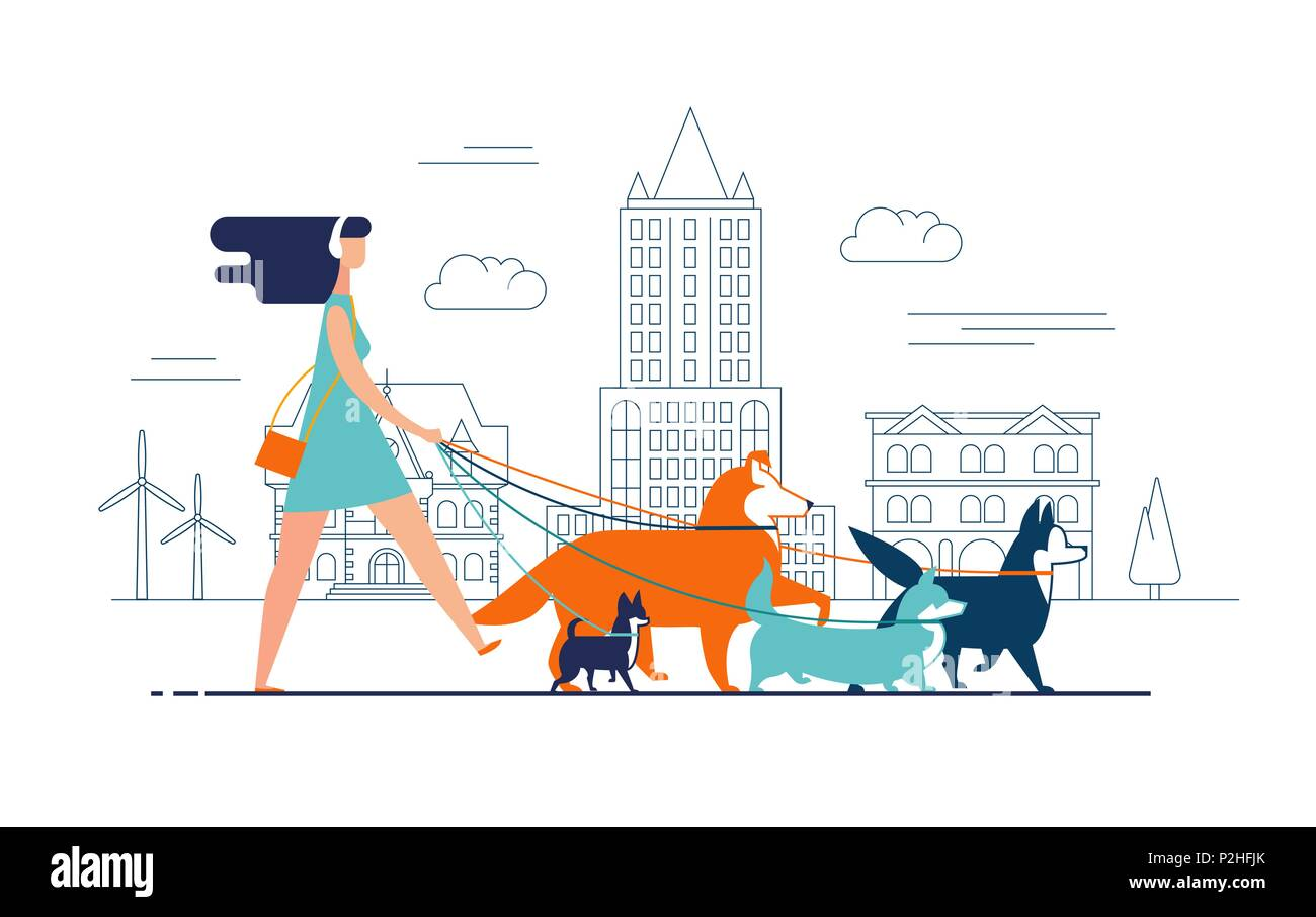 Young girl wearing dress and headphones walks dogs on leash along city street against buildings on background. Female cartoon character promenades or strolls with her domestic animals in downtown. - Stock Image