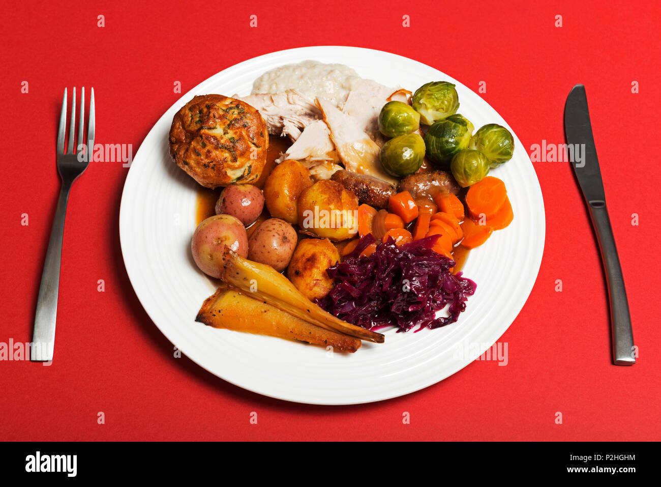 Traditional English Christmas Dinner.Traditional British Christmas Dinner Stock Photo 208139952