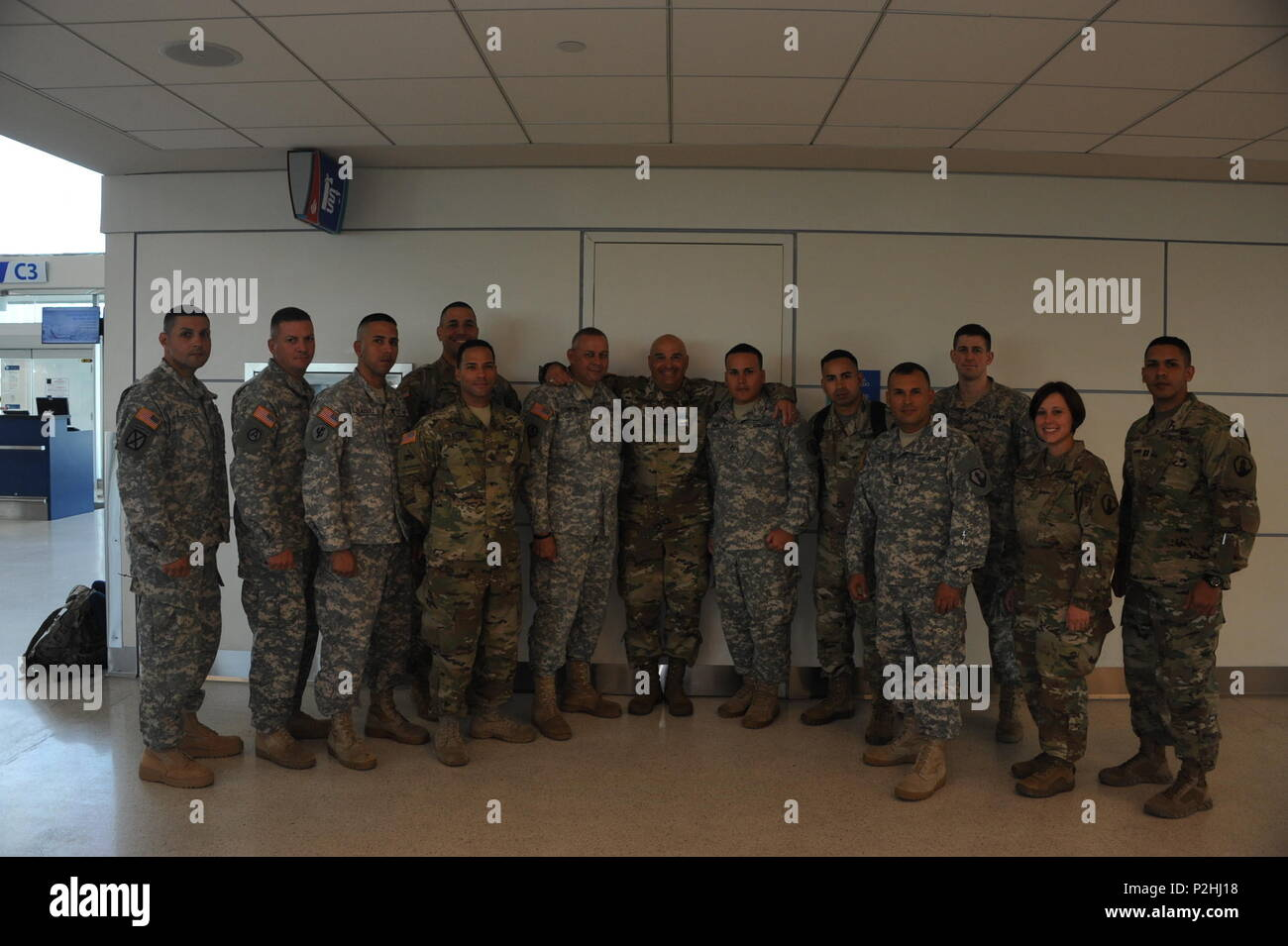 U.S. Army Reserve Soldiers from the 246th Quartermaster Company (QM Co.) (Mortuary Affairs) headed to Fort Hood, Texas for their pre-mobilization training on September 28, from the Luis Muñoz Marin Airport in San Juan, Puerto Rico. - Stock Image