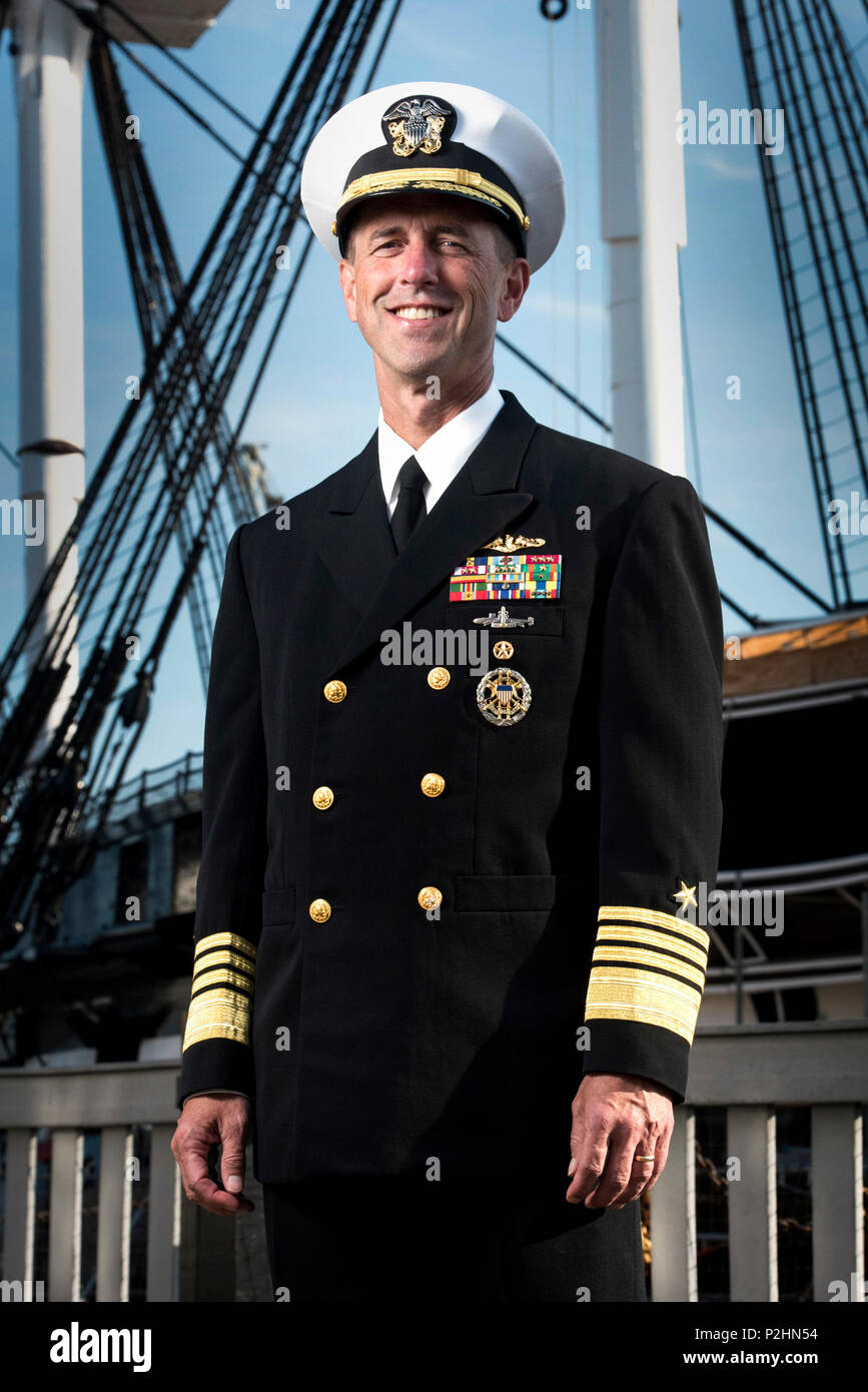 160908-N-AT895-081 CHARLESTOWN, Mass. (Sept. 8, 2016) Chief of Naval Operations (CNO) Adm. John Richardson poses for a portrait in front of USS Constitution.  (U.S. Navy photo by Mass Communication Specialist 1st Class Nathan Laird/Released) Stock Photo