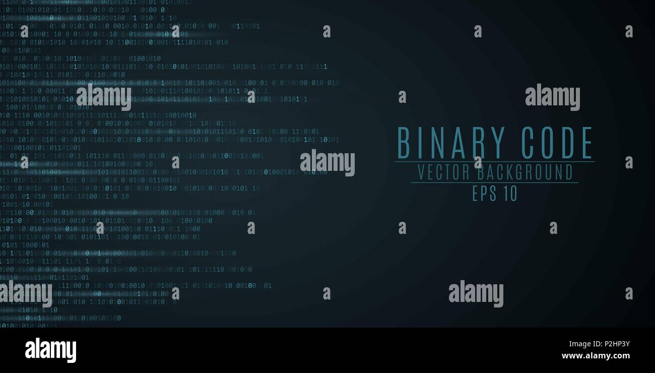 Binary code background. Blue glow. Motion blur. High technologies, programming, sci-fi. Vector illustration EPS 10 - Stock Image
