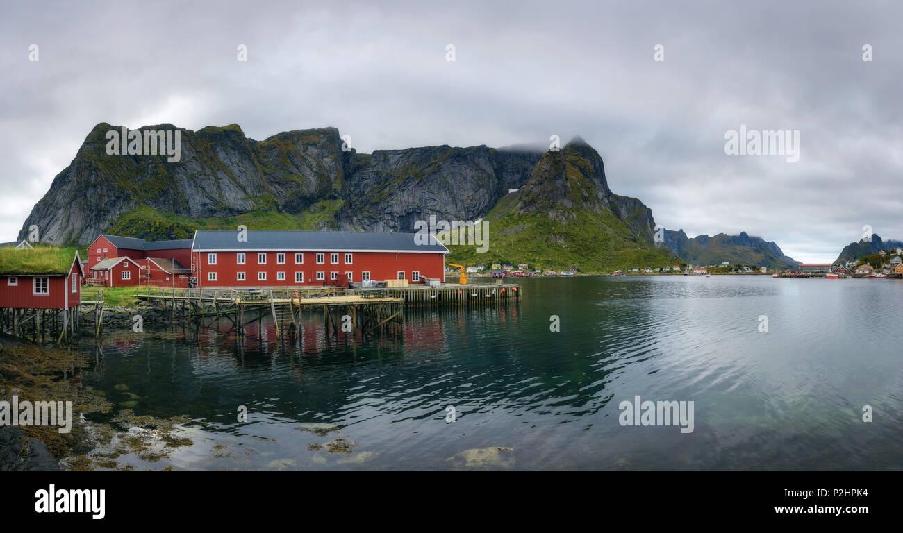 Panorama of Reine fishing village on Lofoten islands in Norway - Stock Image