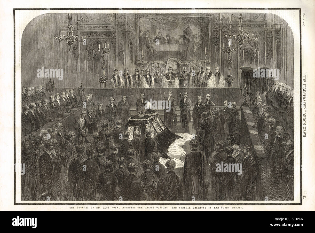 Funeral of Prince Consort Albert in December 1861 - Stock Image