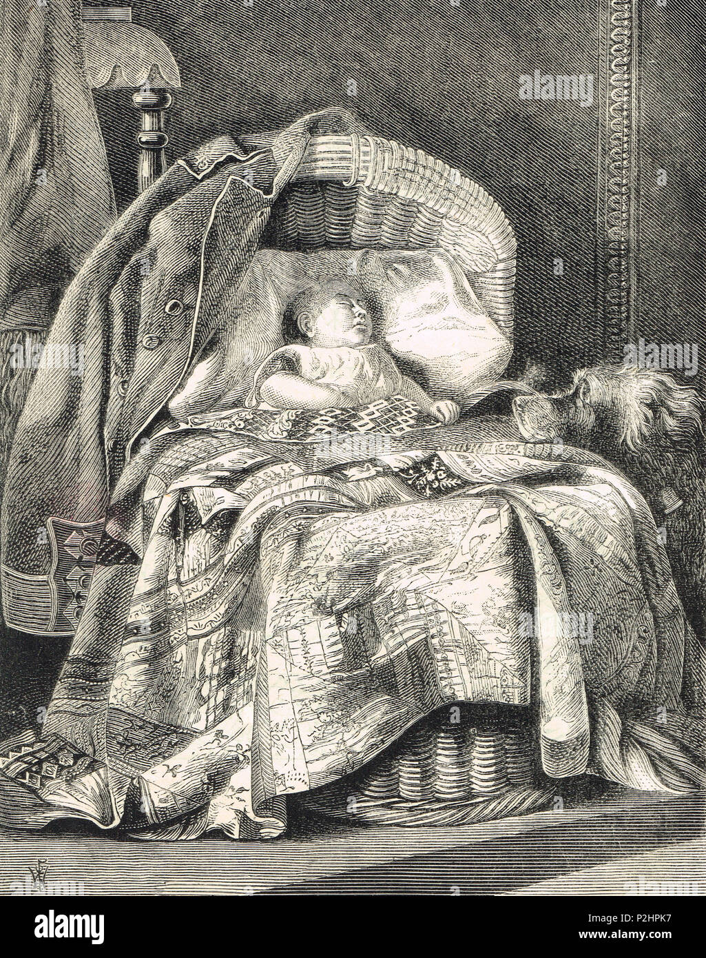 A faithful dog watching over a baby, 19th Century illustration of 1873 - Stock Image