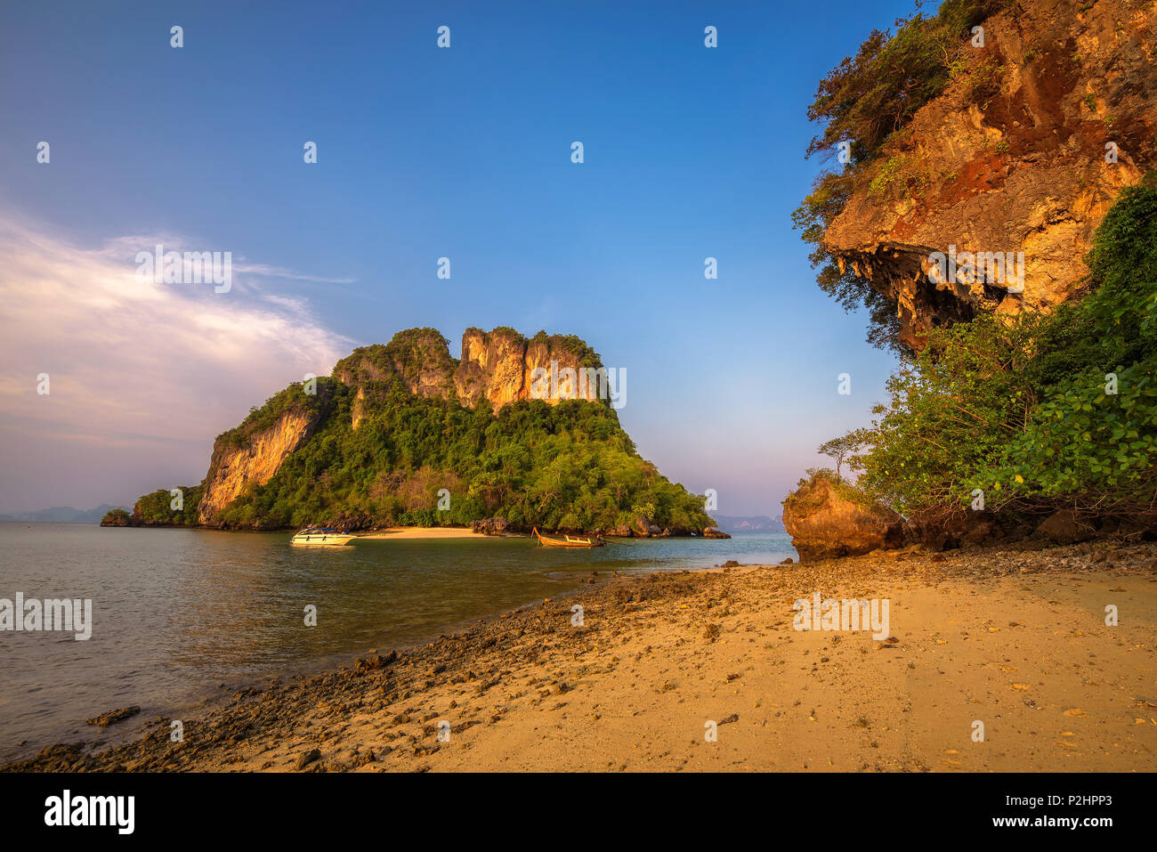 Evening at the beach of Ko Hong island in the Krabi province, Thailand - Stock Image