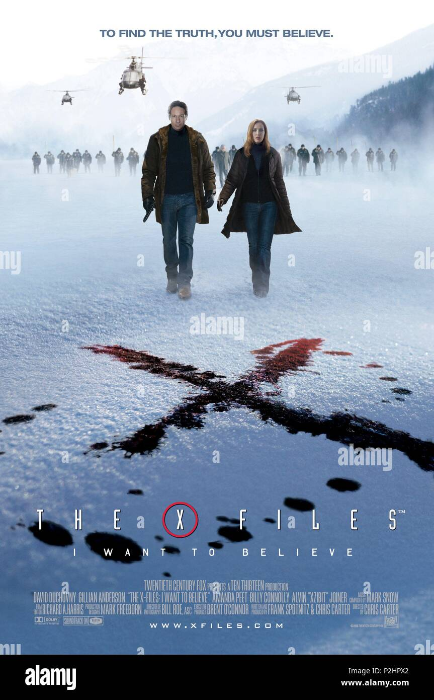 Original Film Title: THE X-FILES: I WANT TO BELIEVE.  English Title: THE X-FILES: I WANT TO BELIEVE.  Film Director: CHRIS CARTER.  Year: 2008. Credit: CRYING BOX PROD./TEN THIRTEEN PRODUCTIONS / Album - Stock Image