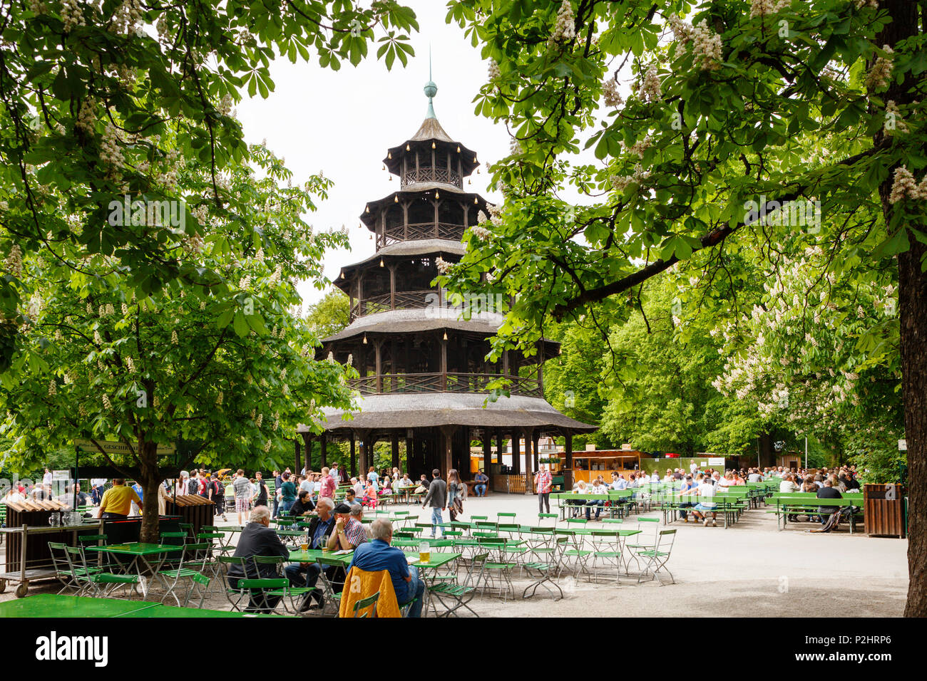 Beer garden and Chinese Tower in the English Garden, Munich, Upper Bavaria, Bavaria, Germany, Europe - Stock Image