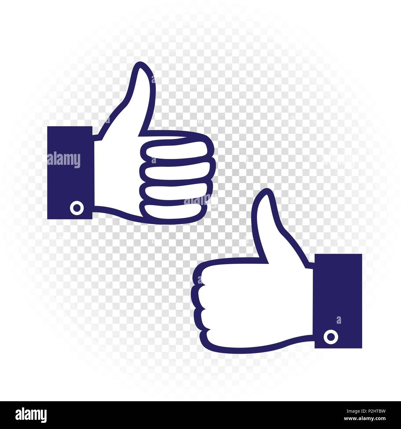 Like Symbol Set Blue Hand Palm With Raised Upward Finger On White