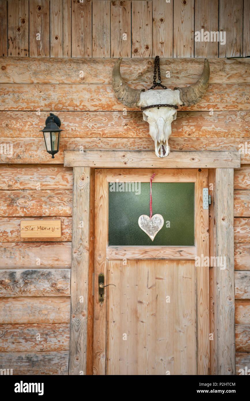 Door of the stables, Alb buffalo, Hohenstein, Reutlingen state, Swabian Alb, Baden-Wuerttemberg, Germany - Stock Image