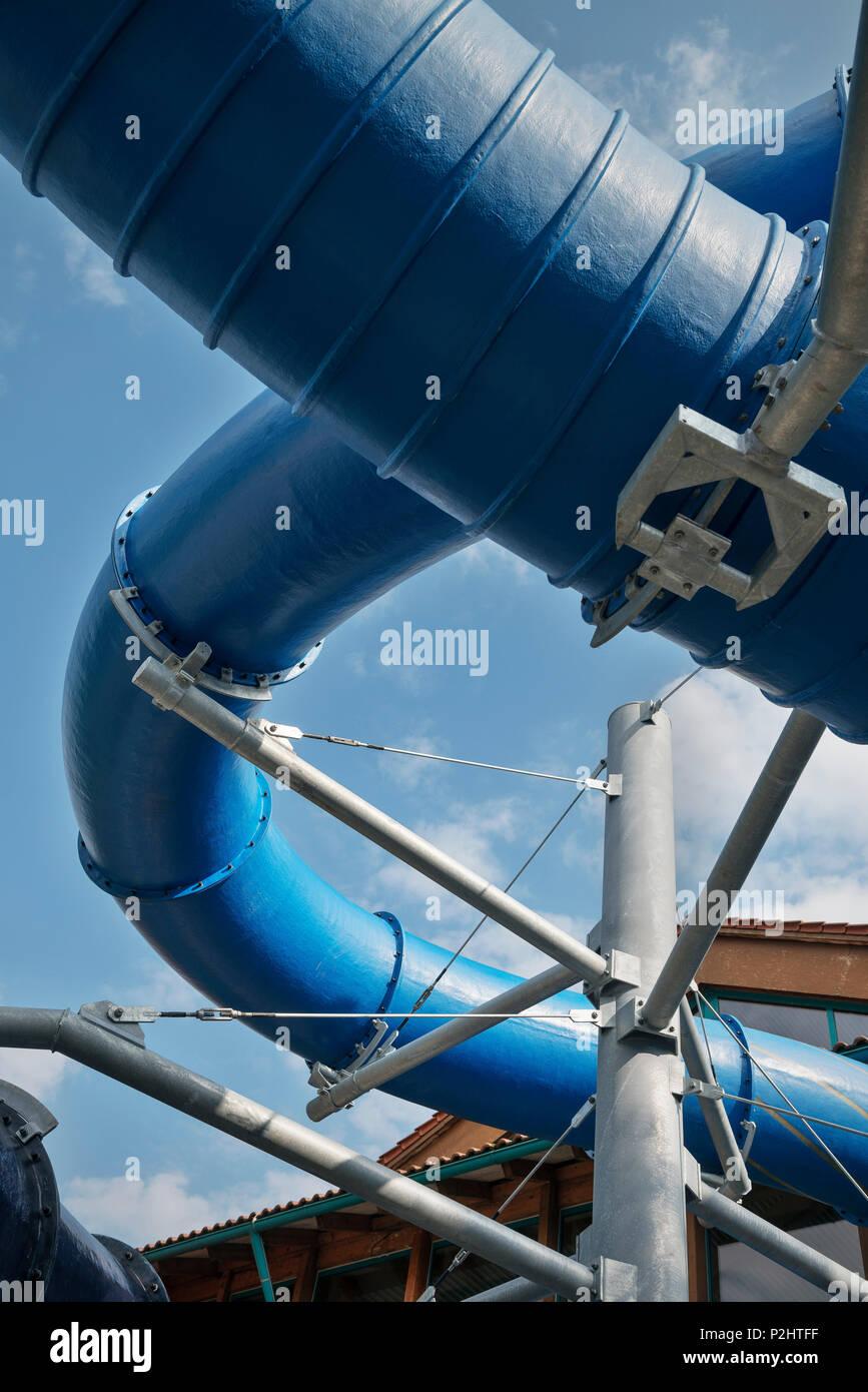 exterior view of the new slide, Blaustein, Swabian Alb, Baden-Wuerttemberg, Germany - Stock Image