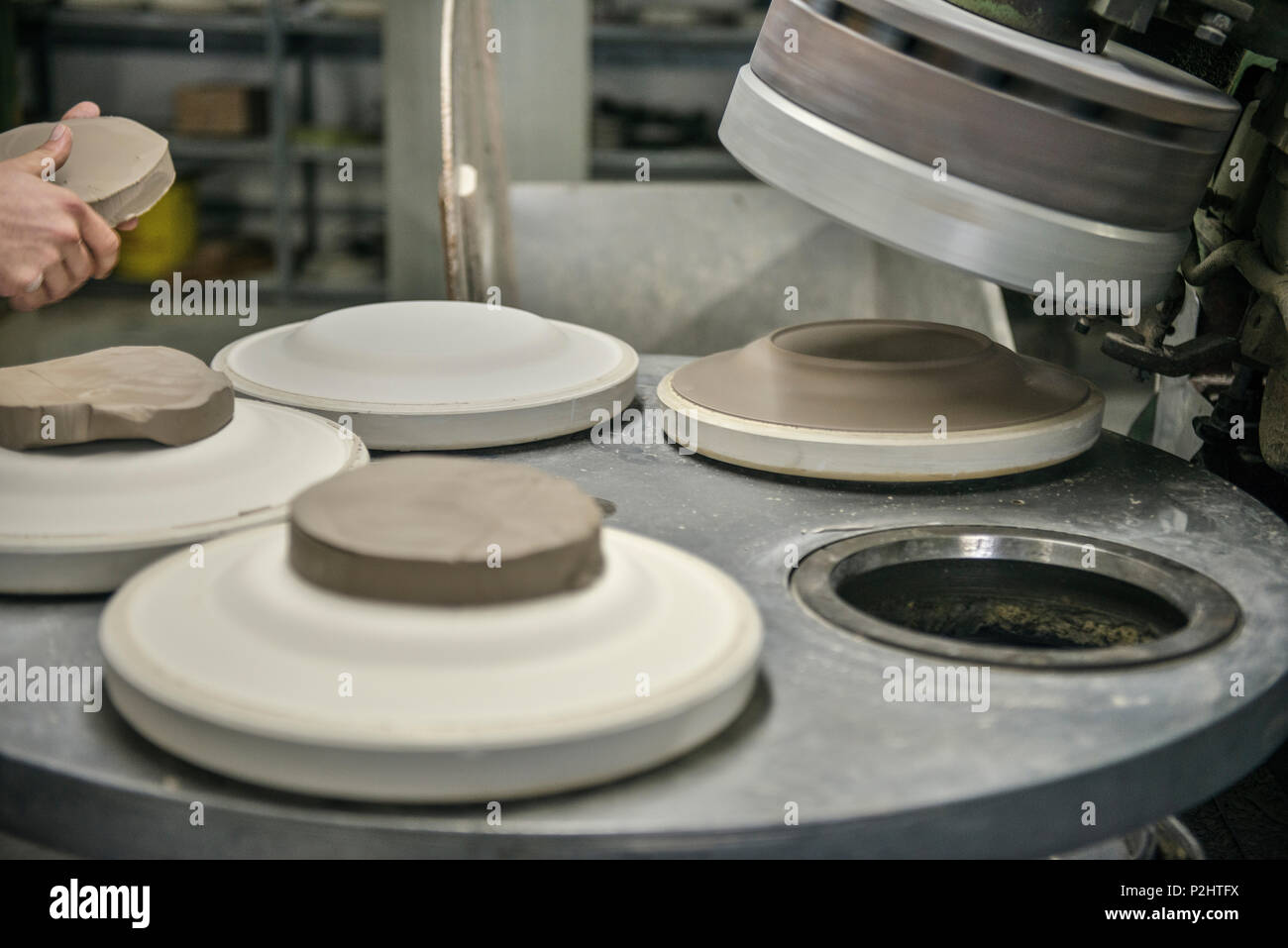 Manufacturing the famous Zeller place settings in the factory, Zell am Harmersbach, Black Forest, Baden-Wuerttemberg, Germany - Stock Image