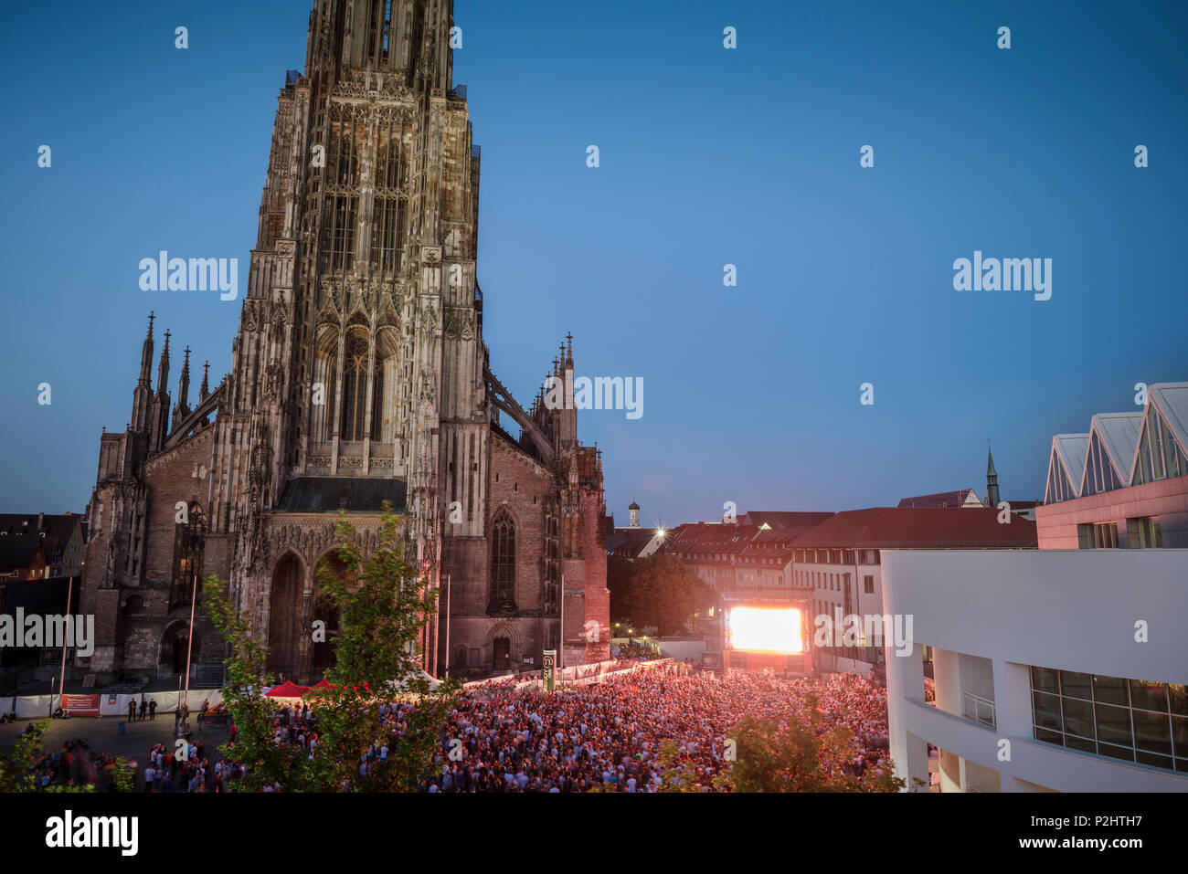 public viewing during the football world cup 2014, Ulm on the Danube River, Swabian Alb, Baden-Wuerttemberg, Germany - Stock Image