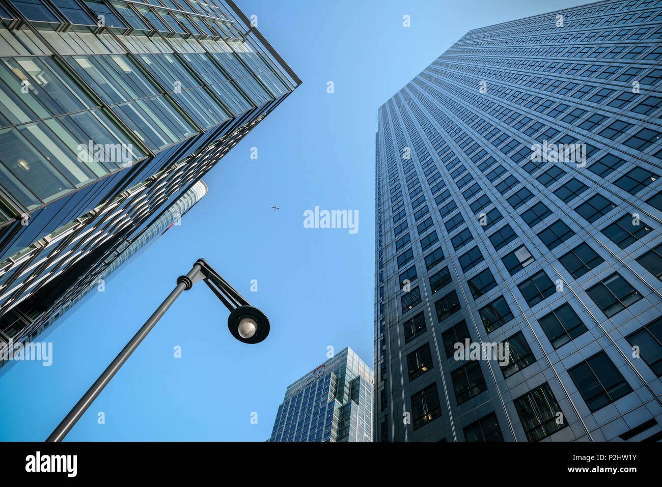 view upwards to bank skyscrapers, Canary Wharf new financial district, City of London, England, United Kingdom, Europe - Stock Image