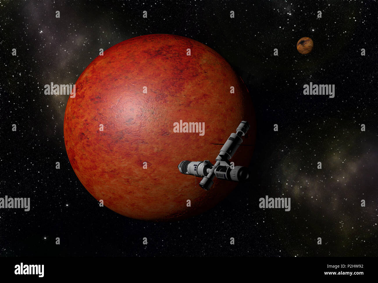 Interstellar spaceship flying to unknown red planet in outer space with stars and nebulas. Space exploration. - Stock Image