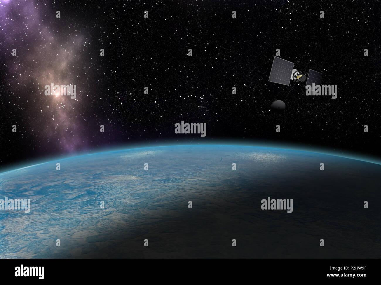 Satellite flying over blue planet - Stock Image