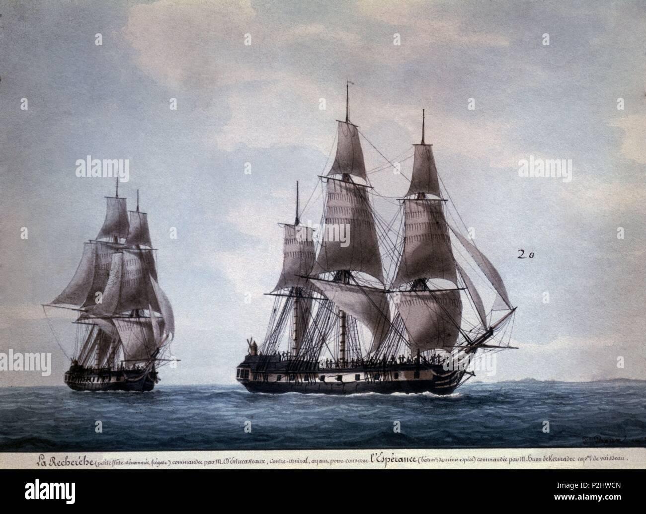 LA BUSQUEDA Y LA ESPERANZA-DE LA HISTORIA UNIVERSAL DE EXPLORACIONES. Author: Antoine Roux (1765-1835). Location: MUSEO DE LA MARINA, FRANCE. - Stock Image