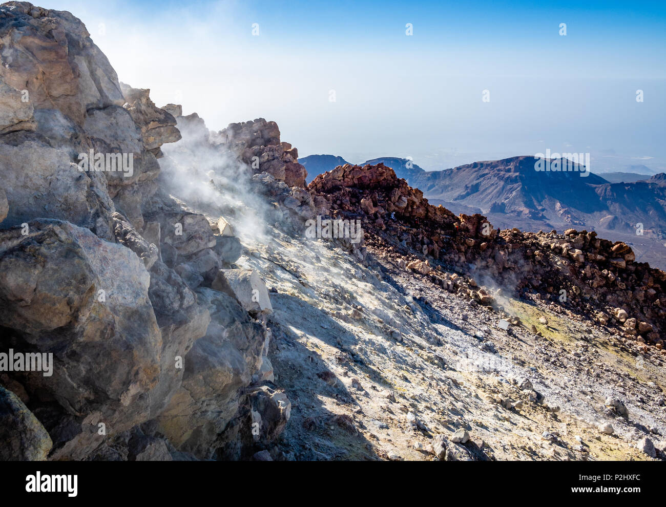 Smouldering summit crater of active volcano Mount Teide at 3718 metres on Tenerife the largest of the Canary Islands - Stock Image
