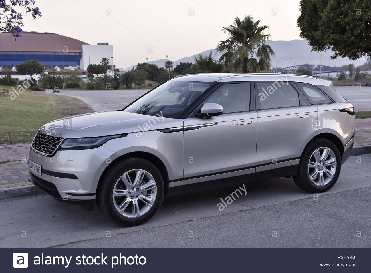 'Range Rover Velar' modern crossover SUV made by 'Jaguar Land Rover' parked in Malaga Southern Spain Europe. - Stock Image