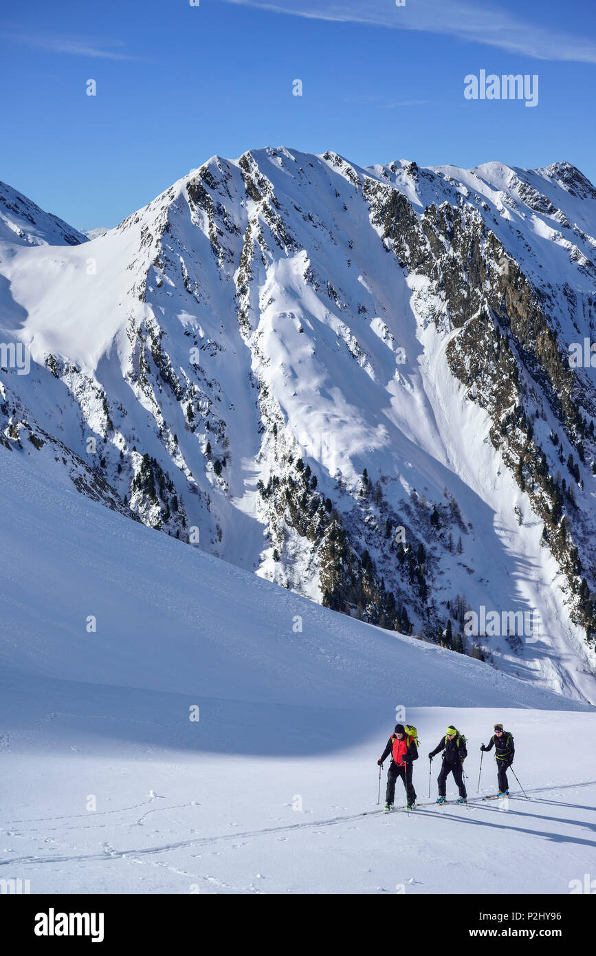 Three persons back-country skiing ascending towards Frauenwand, Frauenwand, valley of Schmirn, Zillertal Alps, Tyrol, Austria - Stock Image