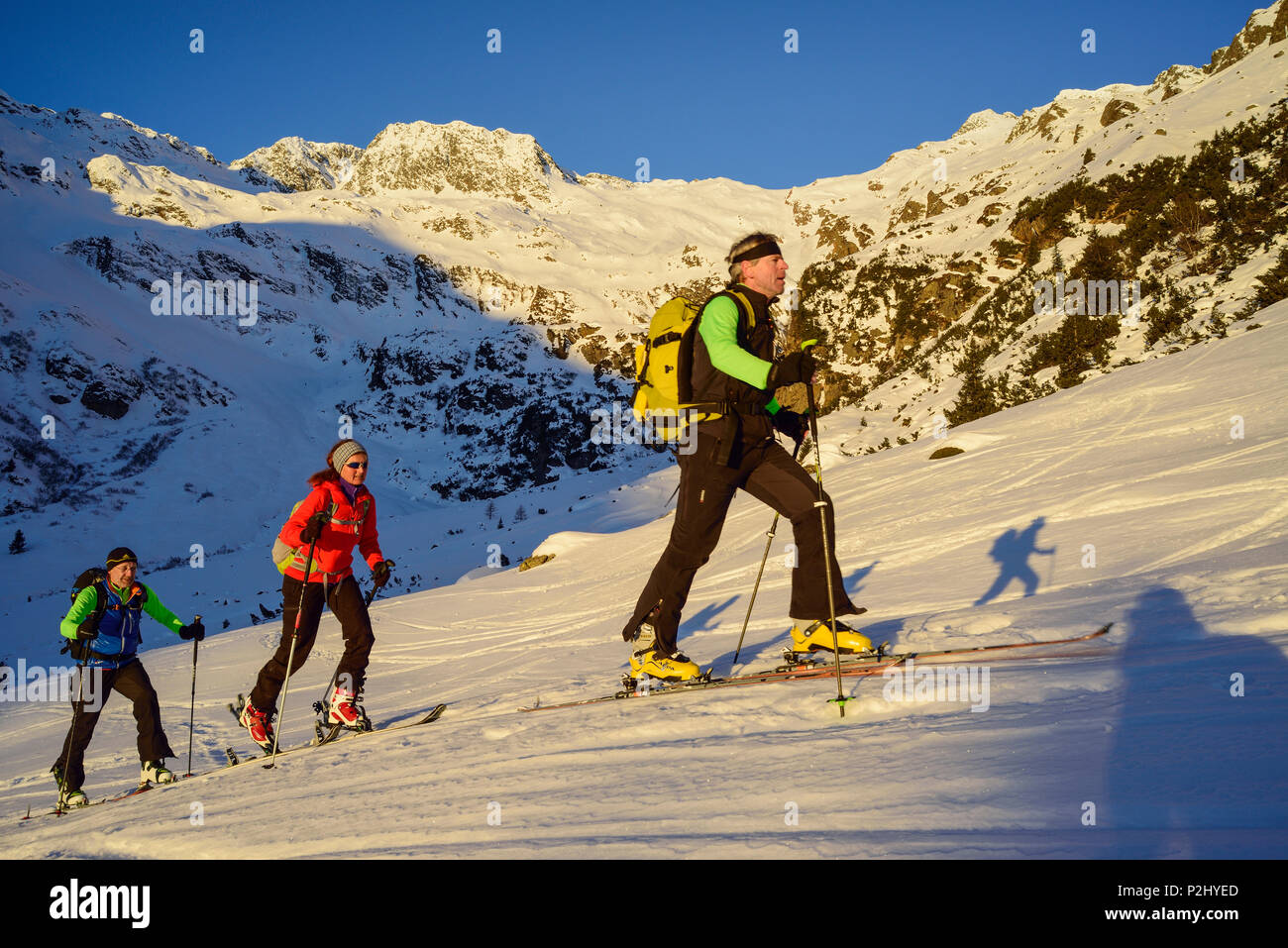 Three persons back-country skiing ascending towards Schneespitze, Schneespitze, valley of Pflersch, Stubai Alps, South Tyrol, It - Stock Image
