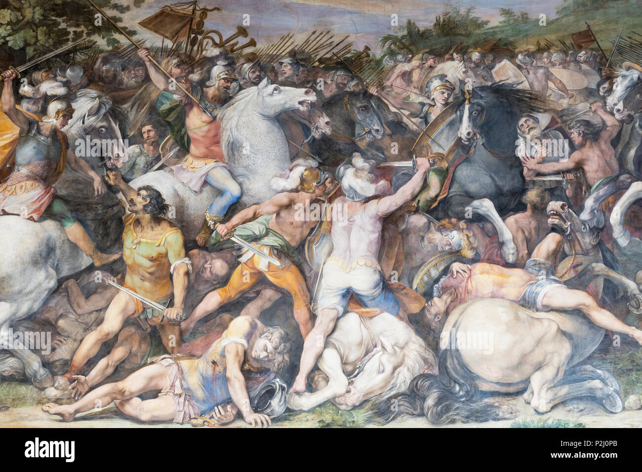 Rome, Italy.  The Capitoline Museum. Battle of Tullus Hostilius against the Veientes and the Fidenates, a fresco in The Great Hall, also known as the  - Stock Image