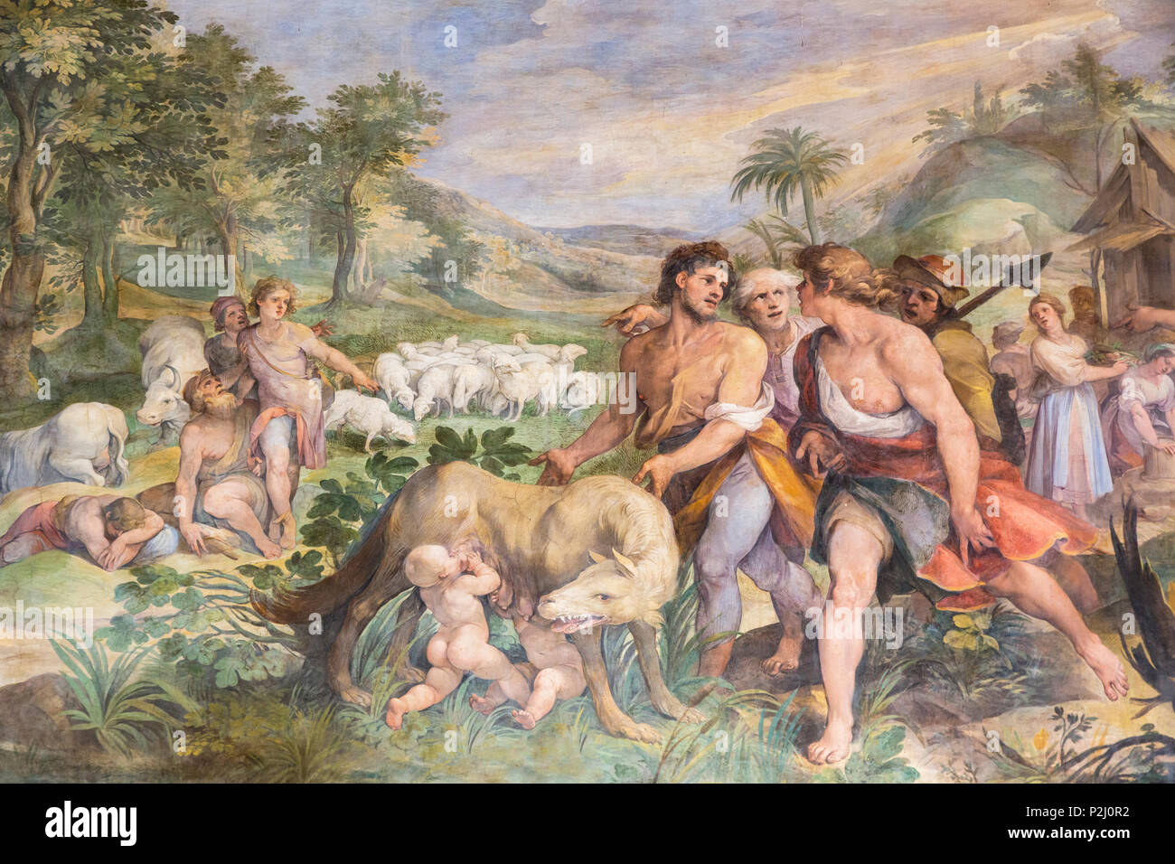 Rome, Italy.  The Capitoline Museum. Finding of the She-wolf with Romolus and Remus, a fresco in The Great Hall, also known as the Horatii and Curatii - Stock Image