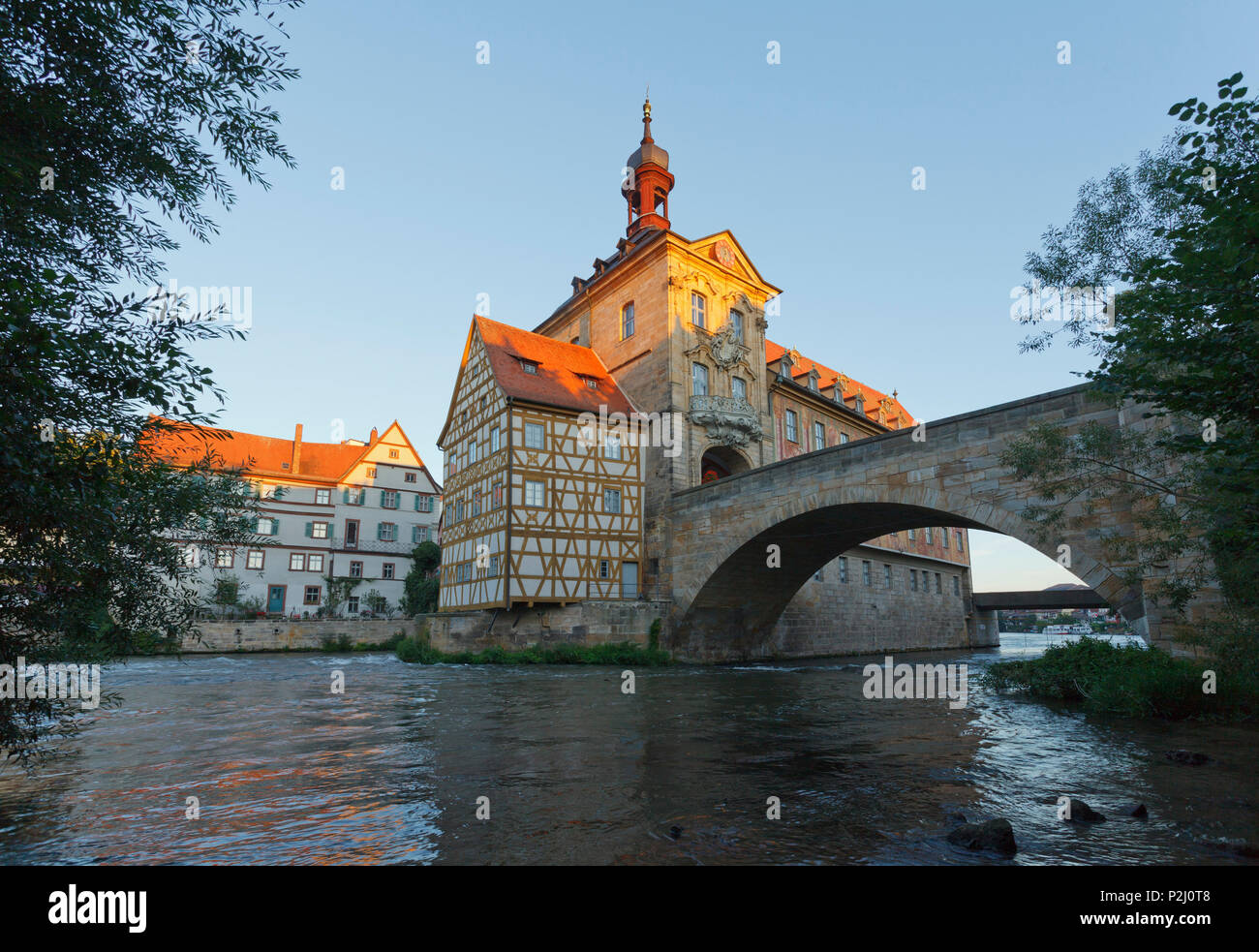 City Hall in Bamberg, 15th century, historic city center, UNESCO world heritage site, Regnitz river, Bamberg, Upper Franconia, B - Stock Image