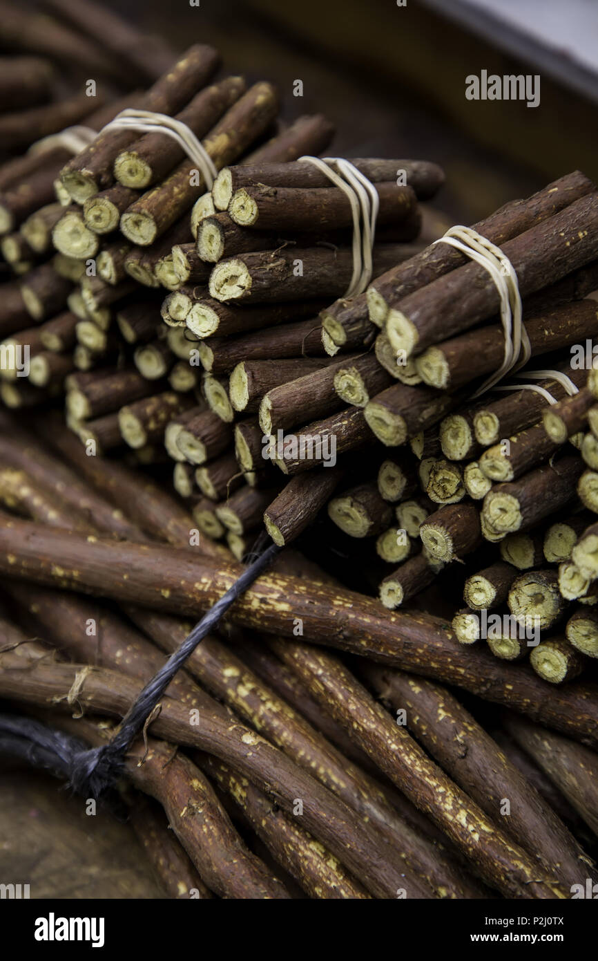 Dry licorice sticks, flavor detail, intense - Stock Image