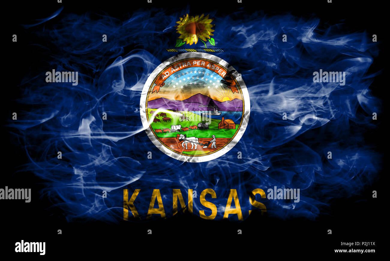 kansas state smoke flag united states of america stock photo