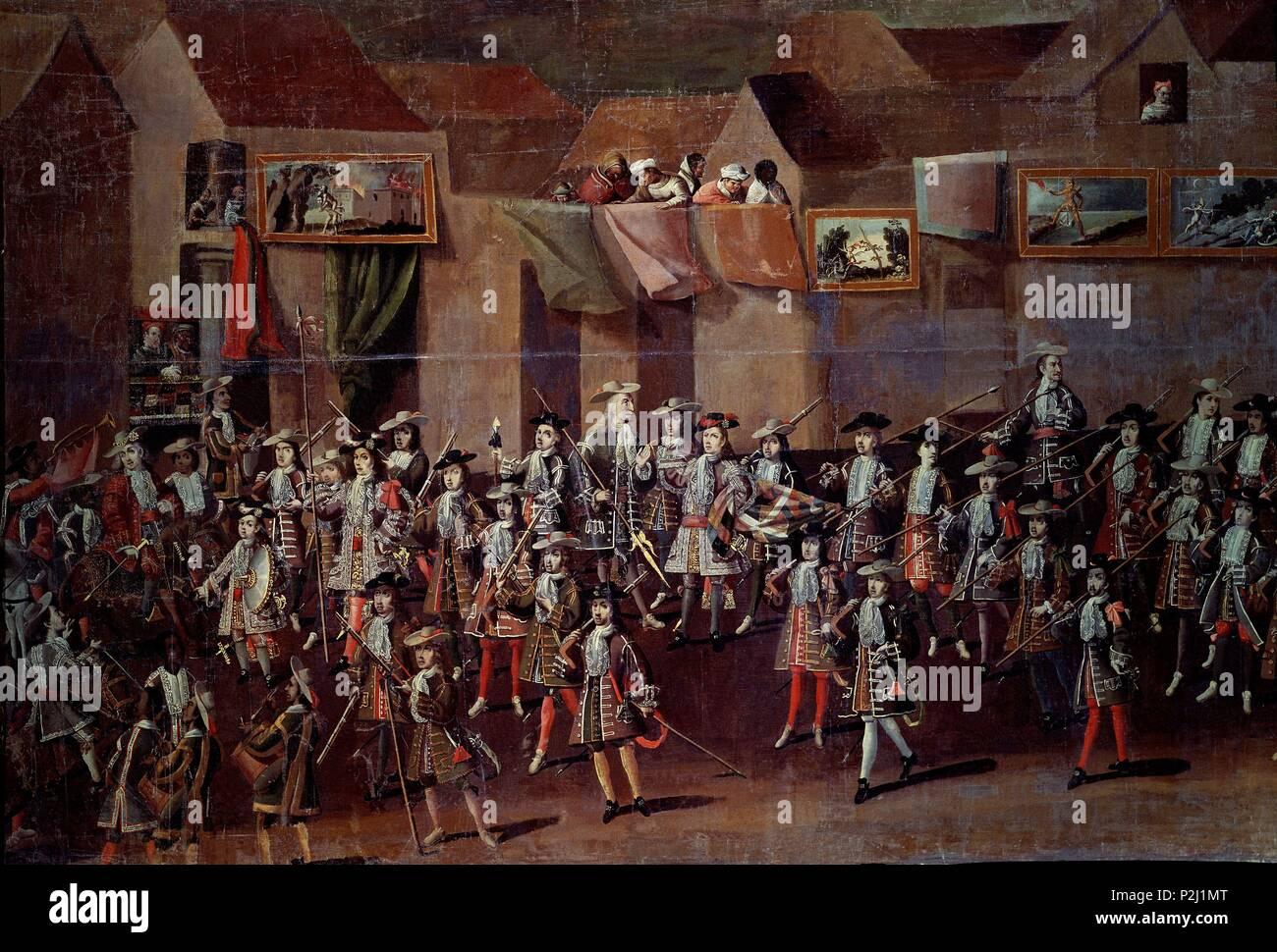 ENTRADA DEL PRIMER VIRREY DEL PERU EN POTOSI-DET IZDA DESFILE SOLDADOS ESPAÑOLES- 25/41716- CONJ Nº 4716. Author: Melchor Pérez de Holguín (1660-1732). Location: MUSEO DE AMERICA-COLECCION, MADRID, SPAIN. - Stock Image