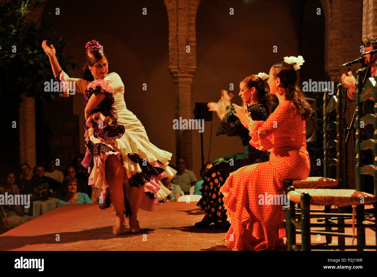 Flamenco show in the Palacio Episcopal de Cordoba next to the Mezquita in the evening, Cordoba, Andalusia, Spain - Stock Image
