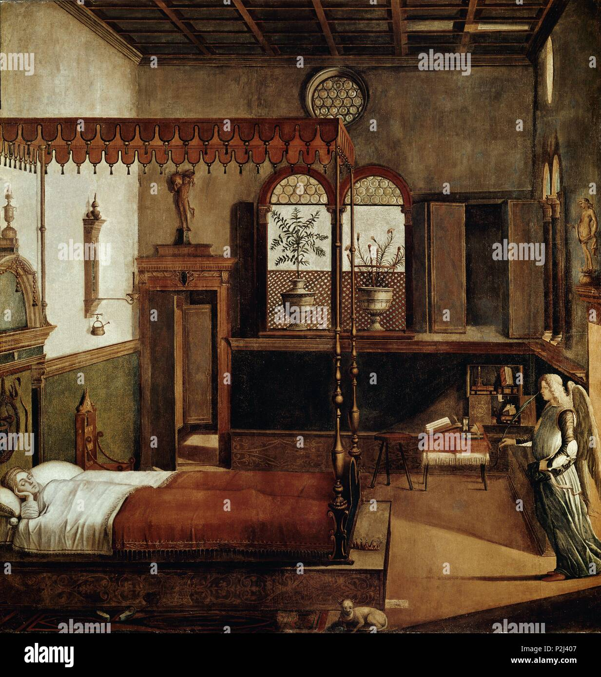 Dream of St. Ursula - 1495 - 273x265 cm - tempera on canvas. Author:  Vittore Carpaccio (c. 1460-1526). Location: ACADEMIA DE BELLAS ARTES,  VENEDIG, ITALIA.
