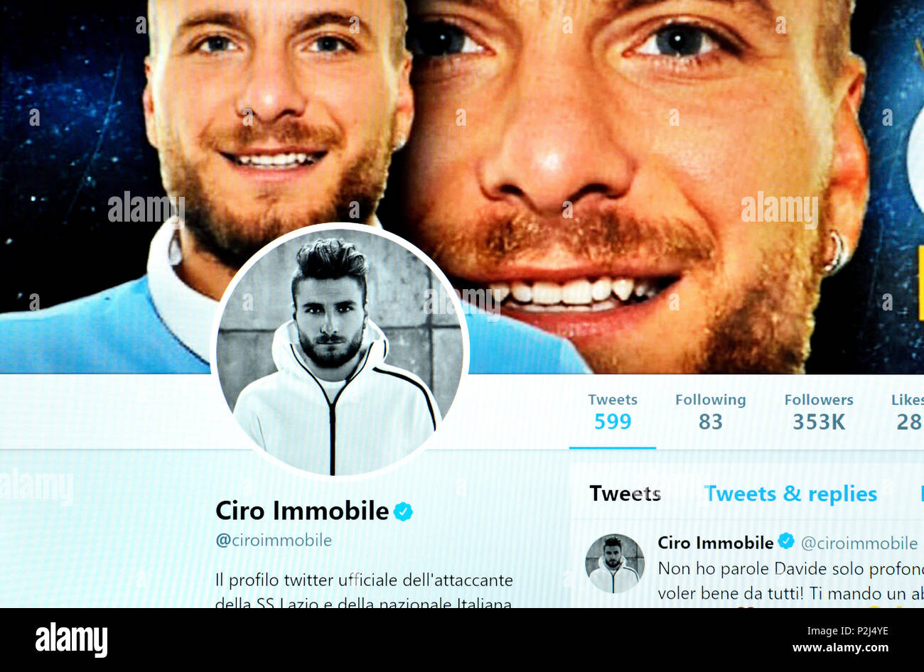 Ciro Immobil official Twitter page (2018) - Stock Image