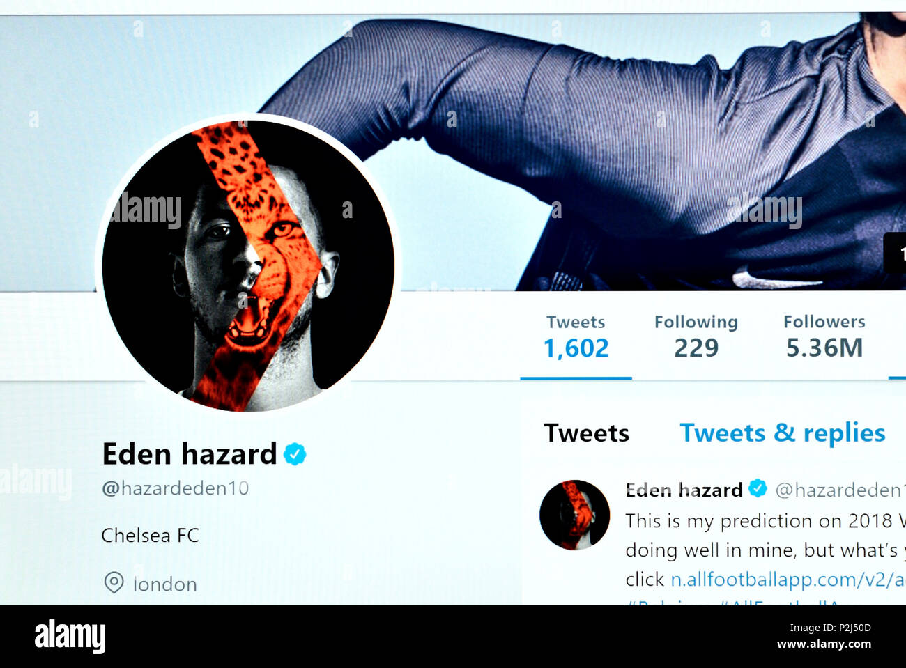 Eden Hazard official Twitter page (2018) - Stock Image