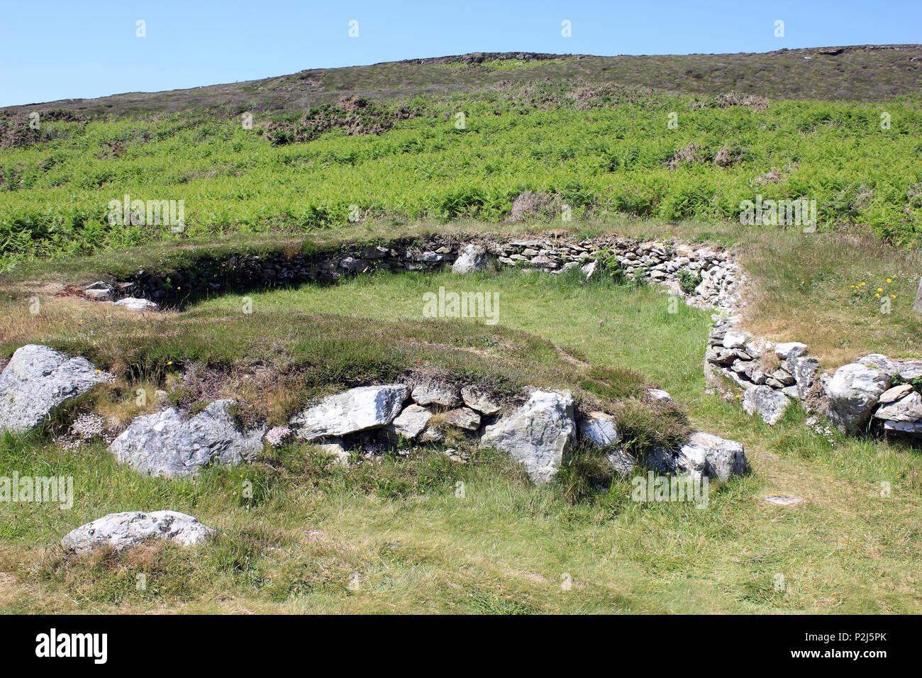 Stone Hut Circles Ty Mawr, Holyhead mountain, Anglesey - Stock Image