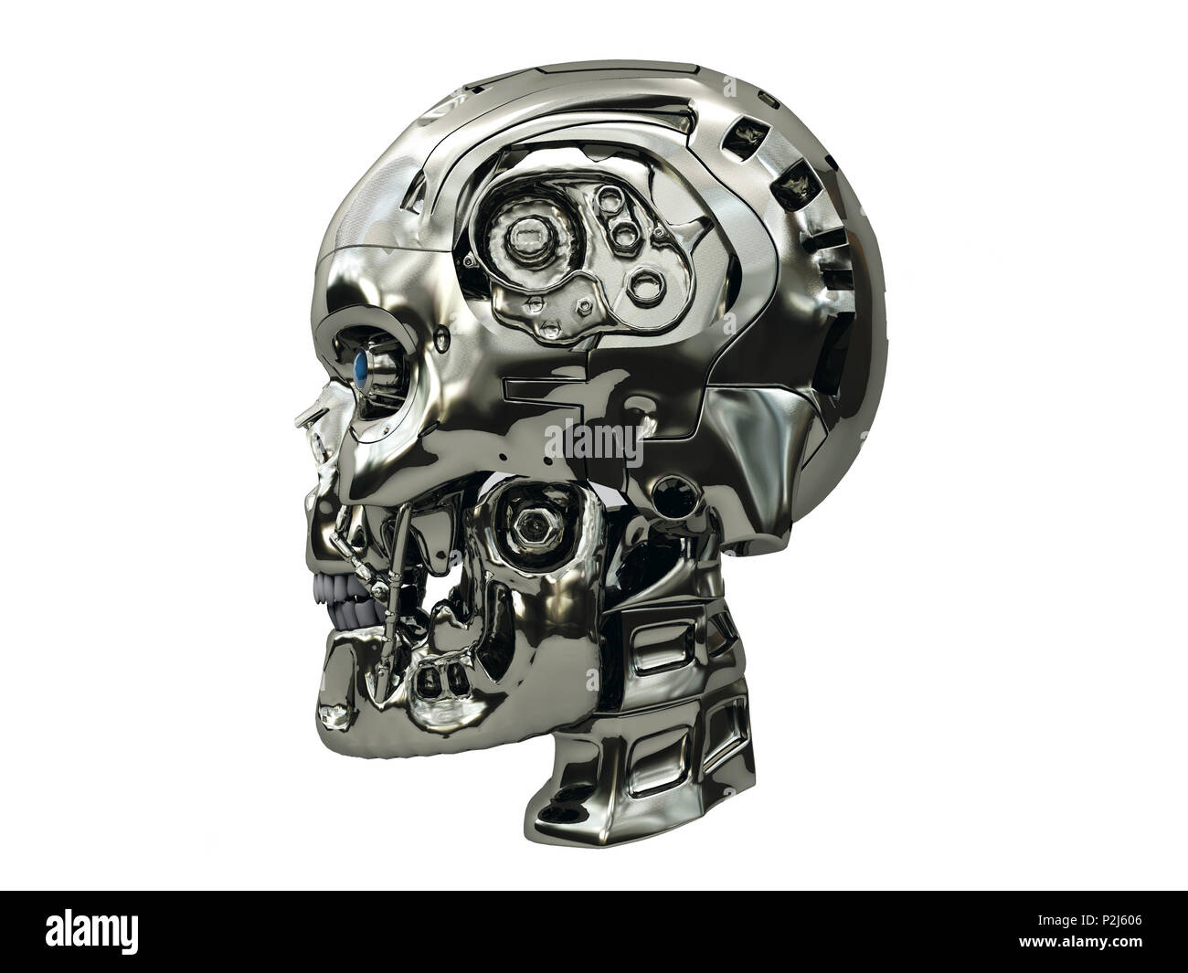 Robot skull with metallic surface and blue glowing eyes on side view, isolated on white background - Stock Image